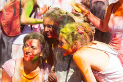 Women  at Festival Holi in Barcelona Stock Photos