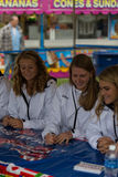 Women Field Hockey Signing Autographs at Fair. New Holland, PA - September 30, 2016: Members of the USA women's field hockey team sign autographs and meet fans Royalty Free Stock Images