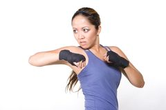 Women fighter. A combat fighter showing her strenght stock photos