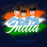 Women Fighter Pilots for Indian Independence Day. Proud of India, Creative illustration of Indian Women Fighter Pilots with Stylish Text India on National Flag Stock Photo