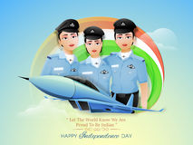 Women Fighter Pilots for Indian Independence Day. Proud of India, Creative illustration of Three Indian Women Fighter Pilots and Fighter Plane on Glossy Royalty Free Stock Photos