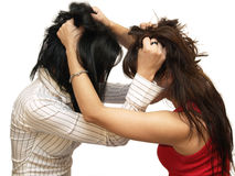 Women fighting. Two women fighting on white background, isolated stock images