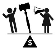 Women fighting for equal Pay. Demanding equal payment for equal work Stock Images