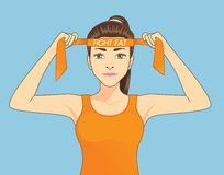 Women fighting fat. Beautiful women in sportswear is strive to exercise for fighting fat. Healthy concept cartoon Stock Photography