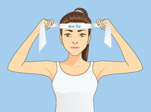 Women fighting fat. Beautiful women in sportswear is strive to exercise for fighting fat. Healthy concept cartoon Royalty Free Stock Photography