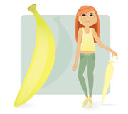Women figure types: skinny banana royalty free stock photo
