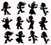 Women figures in black. Illustration of twelve active women figures in black Stock Photo