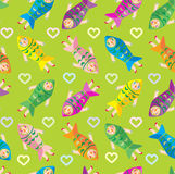 Women fish green pattern vector Royalty Free Stock Images