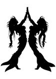 Women The Fishes Silhouette Stock Images