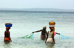 Women fishing in mosambique stock image