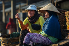 Women in a fishing village in Indonesia Stock Photos