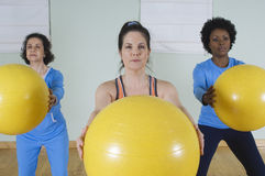 Women With Fitness Ball Stock Photo