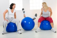 Women on fitness balls