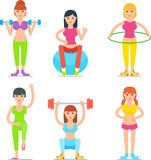 Women Fitness Cartoon Vector Icons Collection Stock Photo
