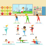 Women In Fitness Club Doing Different Workout Trainings With Instructor Stock Image