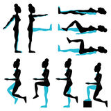 Women fitness pose illustration set Royalty Free Stock Images