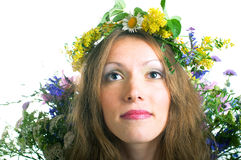 Women with floral wreath Stock Photography