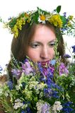 Women with floral wreath Stock Images