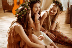 Women in floral wreaths Royalty Free Stock Photography