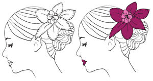 Women with flower in hair Royalty Free Stock Photos