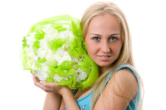 Women with flowers. Royalty Free Stock Image