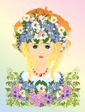 Women in flowers Royalty Free Stock Photo