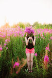 Women in flowers. Stock Image