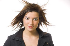 The women with in flying hair Royalty Free Stock Photos