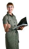 Women with a folder in hands Stock Photo
