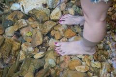 Women foot in nature water Stock Photos