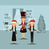 Women in formal clothes celebrating christmas with champagne and all with christmas hats on colorful scene in home. Vector illustration Royalty Free Stock Photo