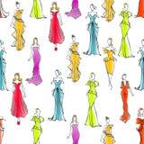 Women in formal wear seamless pattern background Stock Images