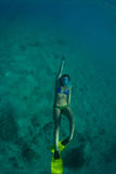 Women free diving. Young woman snorkeling on a coral reef stock image