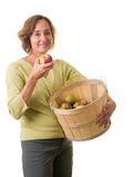 Women with fresh picked apples Royalty Free Stock Images