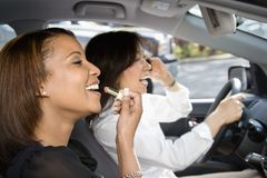 Women friends in car. Stock Photo
