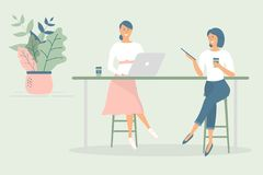 Women friends or colleagues sitting at desk in modern office or cafe,working at notebook and tablet,have coffee, talking.Effective. And productive teamwork.Hand stock illustration