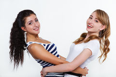 Women friends happy. Two beautiful women friends happy Royalty Free Stock Photos
