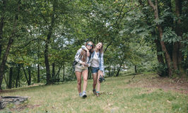 Women friends laughing while walking in forest Stock Photo