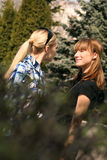 Women friends meet in a city park royalty free stock photos