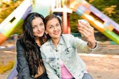 Women friends selfie outdoor Stock Photo