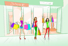 Women Friends Shopping Bags, Shop Mall Center Royalty Free Stock Image