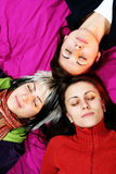 Women Friends Sleep Stock Image
