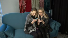 Women friends bff phone social network addiction. Women friendship bff. girls sisters communication. smartphone social network internet addiction stock footage
