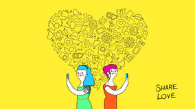 Women friendship and love internet concept art Stock Photo