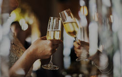 Women Friendship Party Celebration Drinks Cheers Happiness Conce. Girlfriends cheers and celebrate with white wine Stock Image