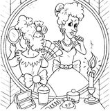 Women in front of a mirror. Black-and-white illustration (coloring page): women spend one's time in front of the mirror before a ball Royalty Free Stock Images