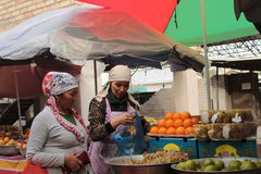 Women in fruit market Stock Photo