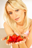 Women with fruits Royalty Free Stock Image