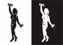 Women Ftiness. Women fitness silhouette at the gym Stock Images