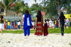 Women on Ganesh Chaturthi. On the seaside in Mauritius Royalty Free Stock Images